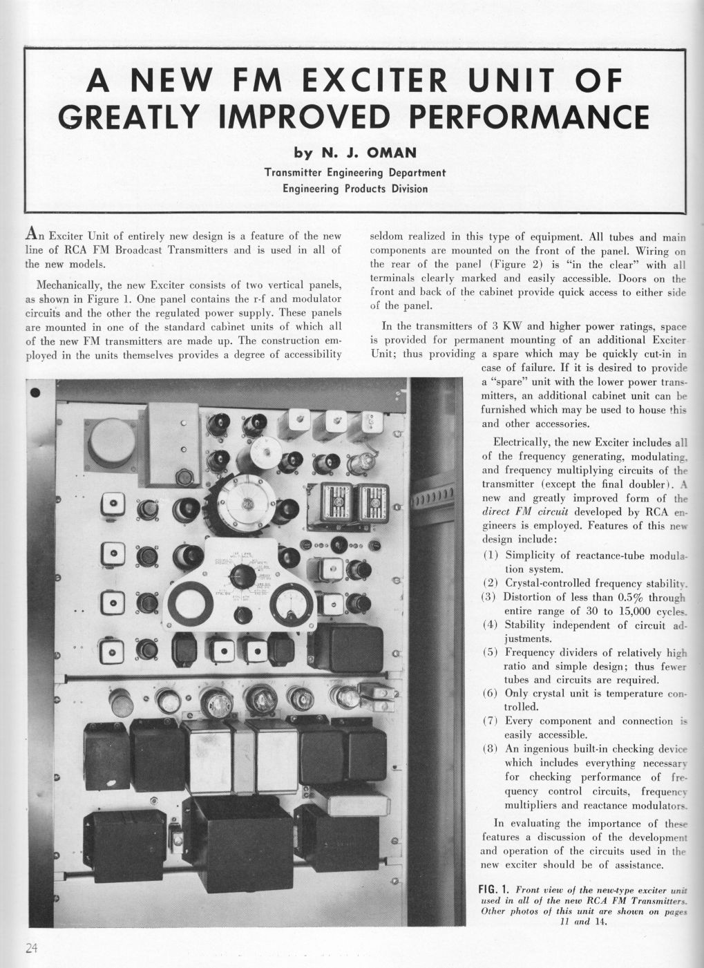RCA MI-7015 Direct FM Exciter, page 1